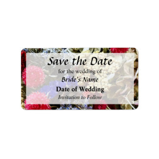Assortment Of Dried Flowers Save the Date Label