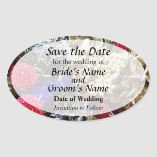 Assortment Of Dried Flowers Save the Date Oval Sticker