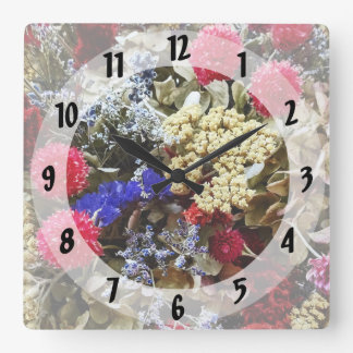 Assortment Of Dried Flowers Square Wall Clock
