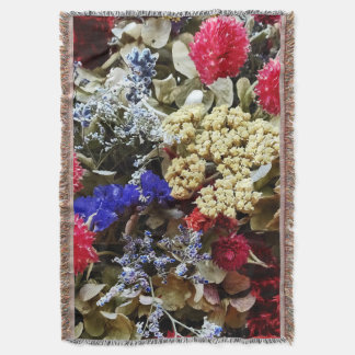 Assortment Of Dried Flowers Throw Blanket