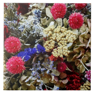 Assortment Of Dried Flowers Tile