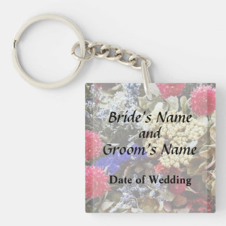 Assortment Of Dried Flowers Wedding Supplies Keychain