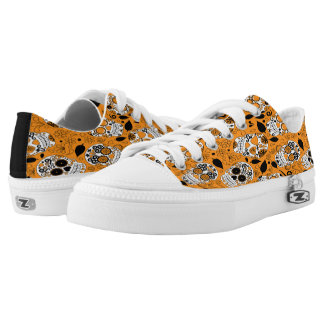 Assortment of orange and white sugar skull Low-Top sneakers