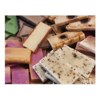 Assortment of organic handmade soaps postcard