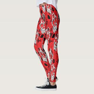 Assortment of red and white sugar skull leggings