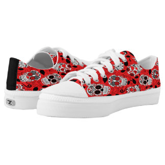 Assortment of red and white sugar skull Low-Top sneakers