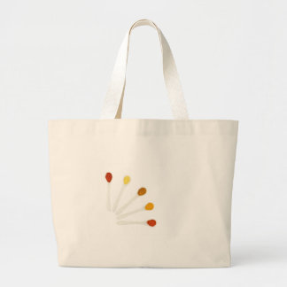 Assortment seasoning spices on porcelain spoons large tote bag