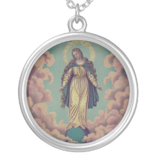 Assumption of the Virgin Mary Silver Plated Necklace