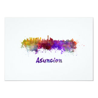 Assumption skyline in watercolor card