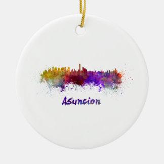 Assumption skyline in watercolor ceramic ornament