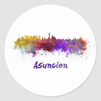 Assumption skyline in watercolor classic round sticker