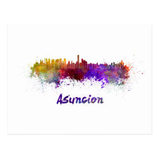 Assumption skyline in watercolor postcard