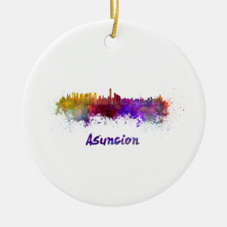 Assumption skyline in watercolor round ceramic ornament