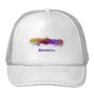 Assumption skyline in watercolor trucker hat