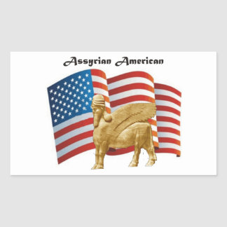 Assyrian American Winged Bull USA Flag Sticker