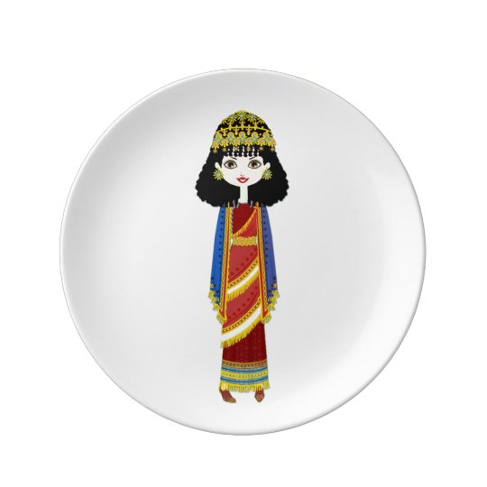"Assyrian Queen 8.5"" Decorative Porcelain Plate"