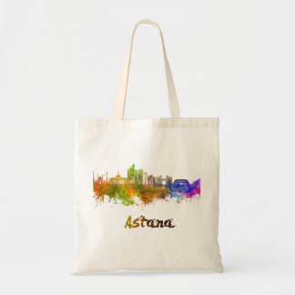 Astana skyline in watercolor tote bag