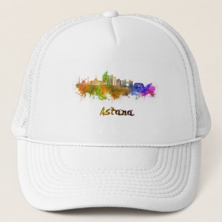 Astana skyline in watercolor trucker hat