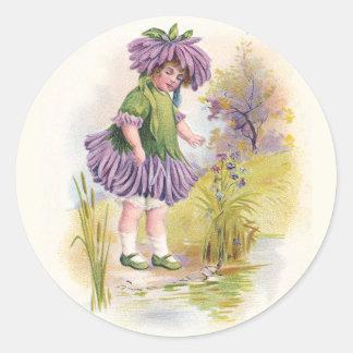 Aster Girl Vintage Flower Variety Round Sticker