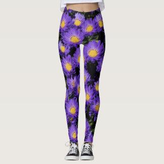 Aster Kickin' Lilac Blue Michaelmas Daisies Leggings