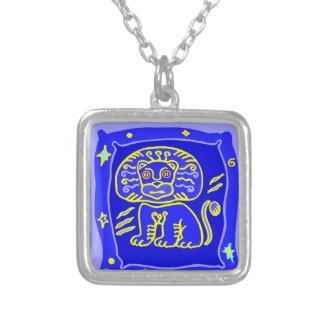Asterisk lion as supporters silver plated necklace