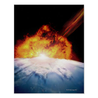 Asteroid Colliding with Earth Poster