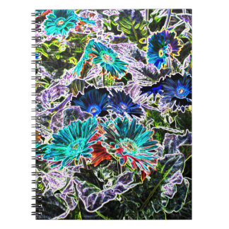 Asters Flowers with Neon Outlines Abstract Art Notebook