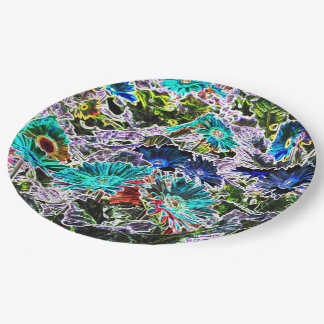 Asters Flowers with Neon Outlines Abstract Art Paper Plate