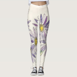 Asters leggings from Nan Henke original watercolor