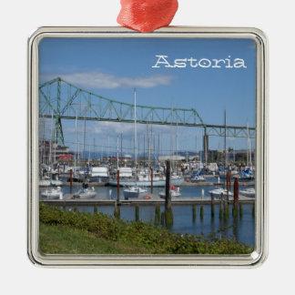 Astoria, Oregon Silver-Colored Square Ornament