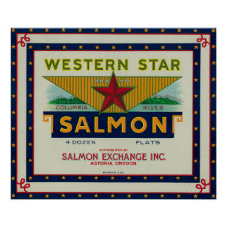 Astoria, Oregon - Western Star Salmon Case Label Poster
