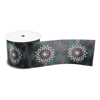 Astract Dot Mandala in Black Red White Turquoise Satin Ribbon