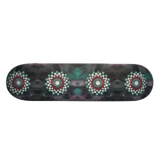 Astract Zen Dot Mandala Red White and Turquoise Skate Board Decks