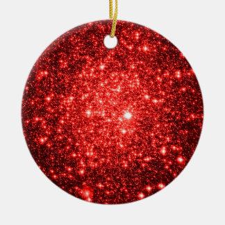 astral glitter Red Ceramic Ornament