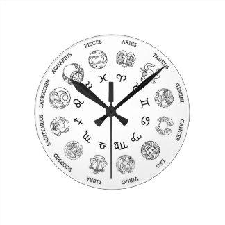 Astrological horoscope zodiac star signs symbols round clock