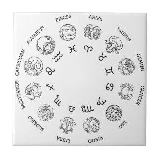 Astrological horoscope zodiac star signs symbols tile