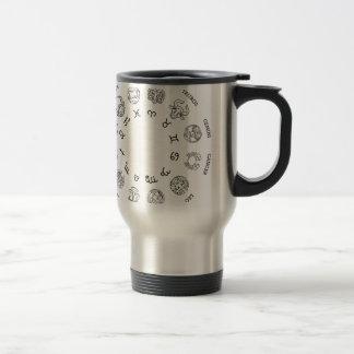 Astrological horoscope zodiac star signs symbols travel mug