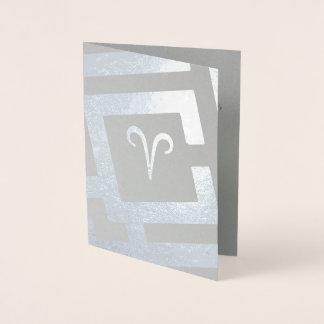 Astrological Sign Aries Silver Decor Custom Text Foil Card
