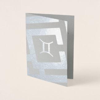 Astrological Sign Gemini Silver Decor Custom Text Foil Card