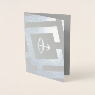 Astrological Sign Sagittarius Silver Custom Text Foil Card