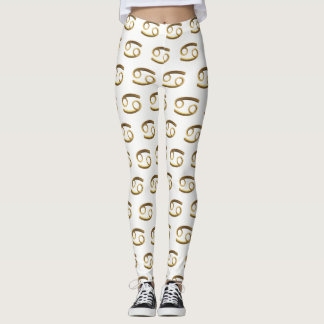 Astrological Zodiac Signs Sun Sign Cancer Gold Leggings