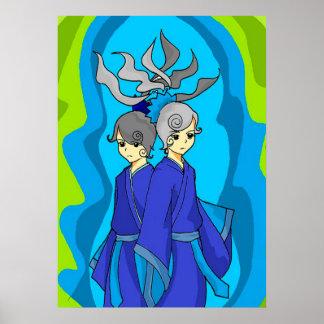 Astrology  Gemini Twins Wall Art Poster