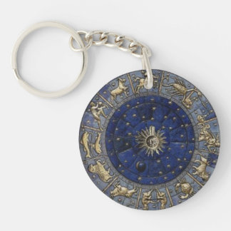 Astrology Single-Sided Round Acrylic Keychain