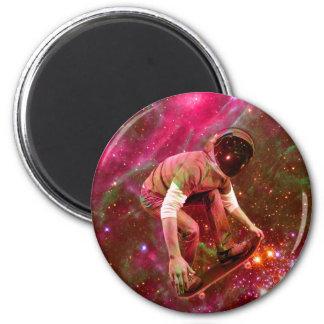Astronaugt Skateborder 2 Inch Round Magnet