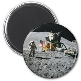 Astronaut and American Flag Apollo Moon Mission 2 Inch Round Magnet