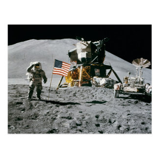 Astronaut and American Flag Apollo Moon Mission Postcard