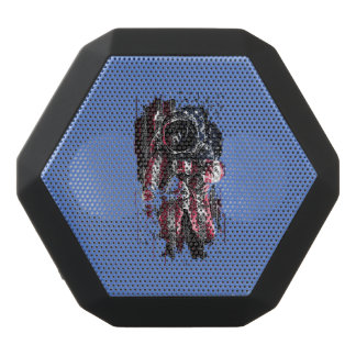 Astronaut and american flag black bluetooth speaker