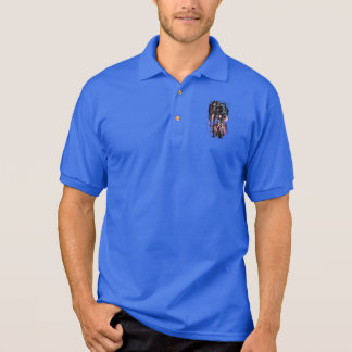 Astronaut and american flag polo shirt