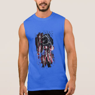 Astronaut and american flag sleeveless shirt