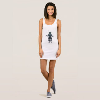 Astronaut and butterfly sleeveless dress